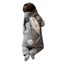 Baby rompers girls boys Rabbit Hooded Jumpsuit winter clothes Newborn Infant Kids Baby Boy Girl Outfit baby Clothes drop ship(China)