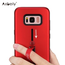 Fashion Kickstand Case For Samsung Galaxy S8 Case Platic Silicone Ring Belt Holder Cover For Samsung S8 Shockproof Phone Cases
