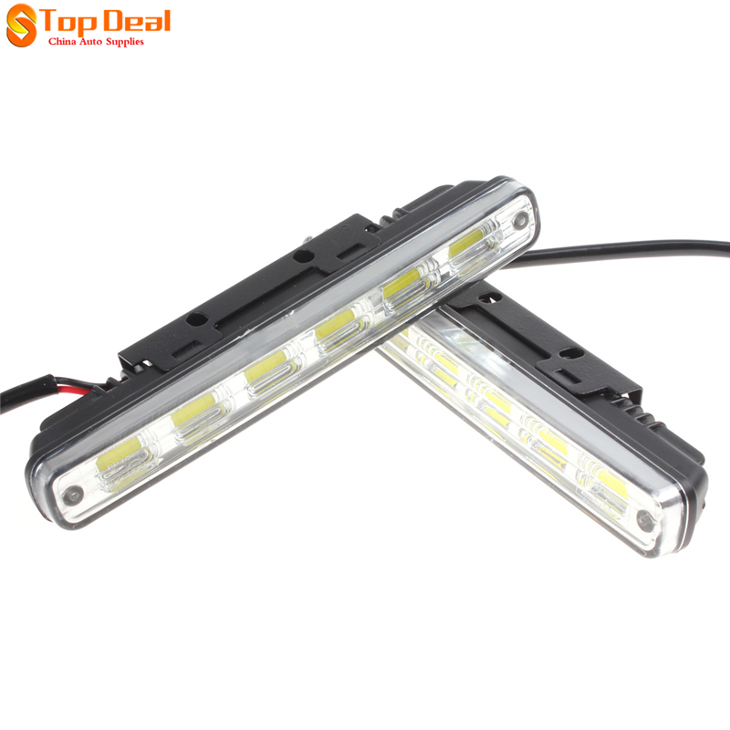 New Universal Super White 12V 6 x 1W COB LEDs Car Daytime Running Light Lamp DRL With Installation Bracket for Car / Vehicles<br><br>Aliexpress