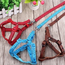 New Fashion high-end carved PU + polyester pet dog harness and lead Dog leash traction rope chain pet Chest strap for small dogs(China)