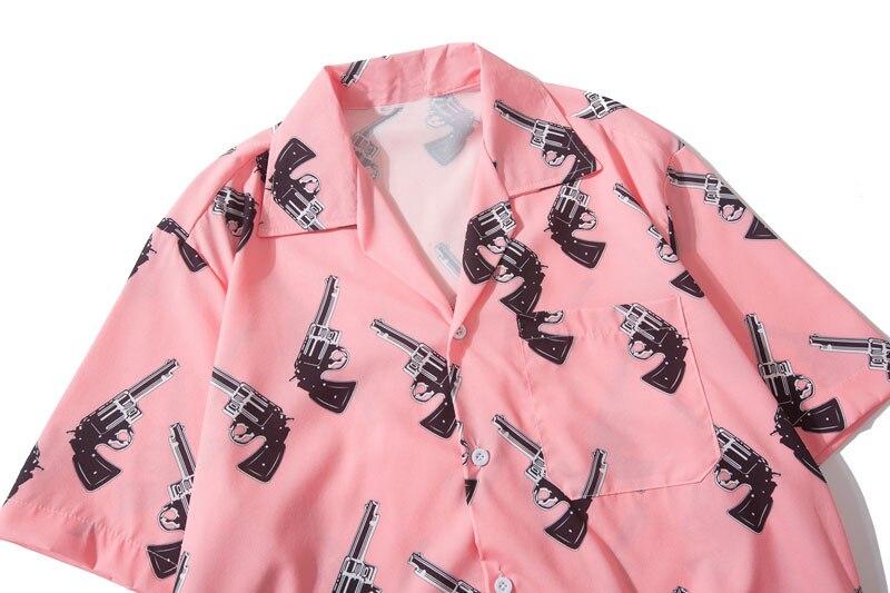 Pistol Gun Print Hawaiian Shirts 2