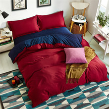 WLIARLEO 4PCS Bedding Set Solid Double Sided Noble Duvet cover Red,Beige Comforter bedding sets Quilt Cover Bedspread Combine