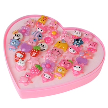 Cute 36pcs/ lot Children Cartoon Rings Lovely Resin Animal Flower Barbie Doll Heart-Shaped Ring Pink Box For Baby Girl Christma(China)