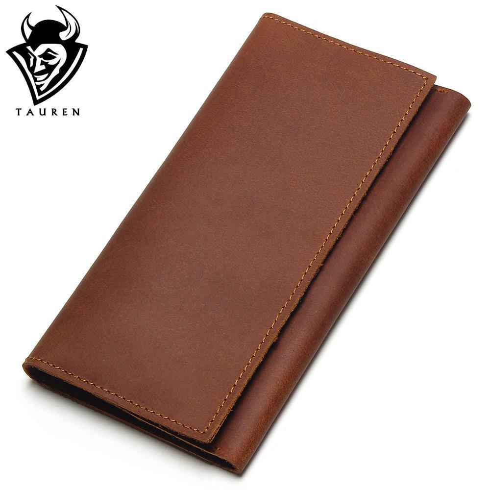TAUREN New Arrival Men Genuine Leather Wallet Mens Bulls Man Vintage Grazy Horse Cowhide Leather Big Capacity Wallet <br>