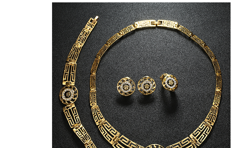 AYAYOO African Dubai Jewelry Sets 2018 Nigerian Gold Color Jewellery Sets For Women Wedding Imitation Crystal Necklace Set (5)