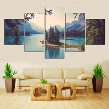Hot Sale Blue Lake Water Landscape Painting On Wall Beautiful Mountain And River Wall Pictures Decoracion(China)