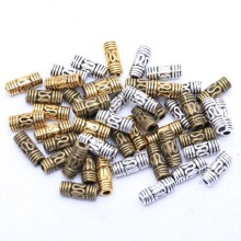 50Pcs 8x3mm Antique Silver Gold Tone Column Tube Spacer Metal Beads For Needleworks For Diy Bracelets Jewelry Making Finding(China)