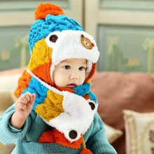 1 Pcs Baby Toddler Girls Boys Winter Warm Cartoon Hat Hooded Scarf Earflap Knitted Infant Cap