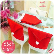 6 Pcs/Lot Santa Claus Hat Chair Covers Christmas Natal Navidad Xmas Decoration Kitchen Dining Table Decor Home Party Supply Sale