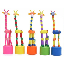 Hot 1pcs Wooden Colorful Cute Puzzles Swing Dancing Cartoon Animal Rocking Giraffe Wood Toys Decoration For Home Garden Party(China)