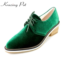Krazing Pot fashion big size brand spring shoes green velvet thick heel women pumps pointed toe causal preppy style shoes L66