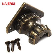 NAIERDI 4pcs Antique Foot Brass Jewelry Wood Box Decorative Feet Leg Corner Bracket Cabinet Protector For Furniture Hardware(China)
