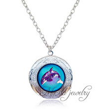 Purple Orca Necklace Art Photo Whale Locket Pendant Marine Animals Fish Jewelry Antique Silver Necklace Pendant Bijoux Women