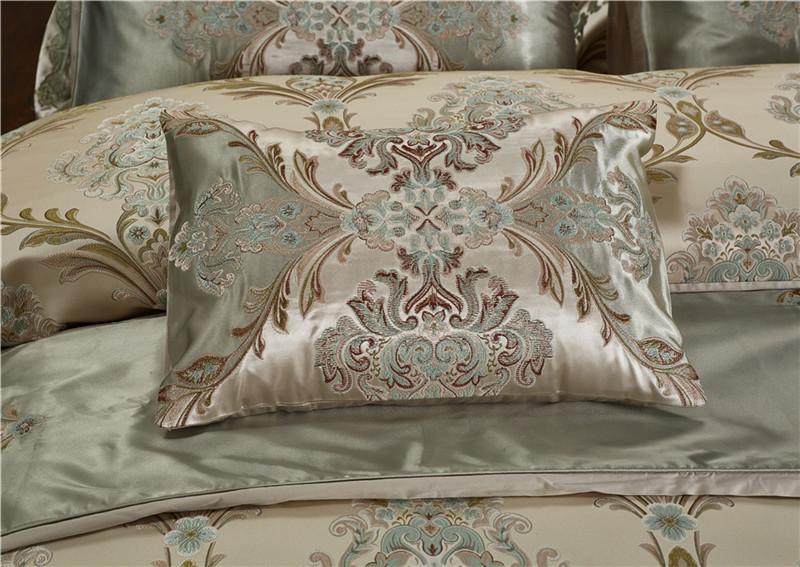 Luxury Bedding Set, Silk Satin Jacquard Bedding Set, Queen, King, Duvet Cover,Bed Linen Flat Sheet Set 19