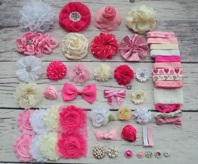 Baby Shower Headband Station Kit,DIY Headband Making Kit,First Birthday Party Headband Kit,Hair Bow Kit ,hot pink,pink,ivory,S46<br><br>Aliexpress