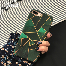 Kerzzil Green Polygon irregularities geometry Plastic Case For iPhone 7 6 6S Plus Phone Matte Ultra thin PC Hard Cover Back lina(China)
