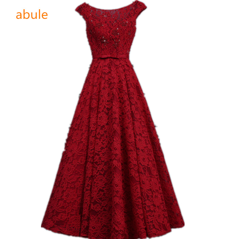 abule lece beading Evening Dresses 2017 aline lace up sleeveless appliques Formal Party Dress Women prom Robe de Soiree (China)