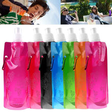 1x Outdoor Portable Folding Plastic Collapsible Water Bottles With Buckle Water Bottle Random