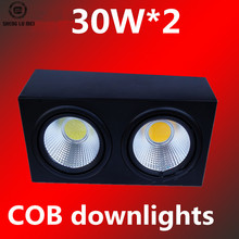 10PCS/LOTS factory direct square led surface mounted spot light cob openings spot lights 2*30w black stud cob downlight