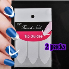 2 Sheets/Set French Manicure DIY Nail Art Tips Guides Stickers Stencil Stripe Oval Round V Shape No.13(China)