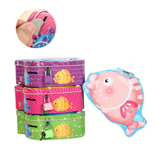 Cute Fish Piggy Bank With Lock Metal Girl Boys Metal Saving Box Mini Size Money Boxes Coins Creative Christmas Gift Money Boxes(China)