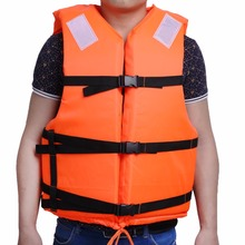 Adult Orange Swimming Life Jacket With Reflective Strap Whistle Foam Life Vest For Drifting Boating