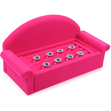 Unique Sofa Shape Jewelry Display Holder Earring Ring Display Tray fashion Jewelry Display Racks Rose Red Velvet Display Rack