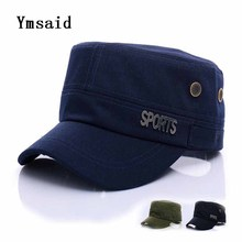 Ymsaid 2017 Brand Unisex High Quality Flat Top Hats Men Fitted Baseball Cap Washed outdoor Sun Visor Hat Army Soldier Hats