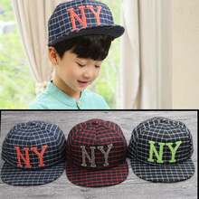 2017 new Quality Snapback cap NY embroidery brand stripe grid flat brim baseball cap hip hop cap and hat for boys and girls
