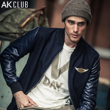 AK CLUB Men Jacket Vintage Style Wool Jacket Faux Fur Leather Casual Men Baseball Jacket Navy Coat Short Length Outwear 1541835(China)