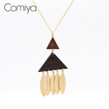Comiya Gold Color Links Chokers Zinc Alloy Triangle Wood Pendant Necklace For Women Online Shopping Indian Feminino Jewelry CC(China)