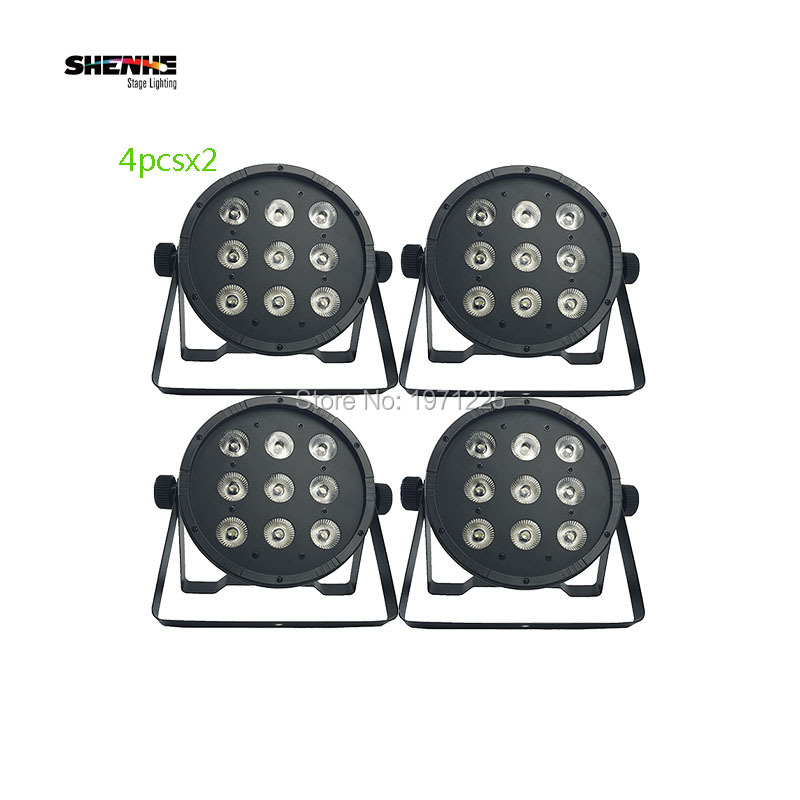 (8pcs) With DMX 8 channes Led Par 9x12W RGBW 4in1 Stage Wash Light for Event,Disco,Party,Dj equipment Fast shipping<br>