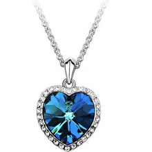 Pizza Hut 2016 Ocean Necklace Jewelry Wholesale New Fashion Women's Blue Zircon Peach Heart The Titanic Necklace Wholesale