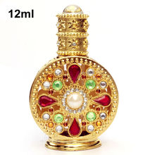 12ml Antique Perfume Bottle Hollow Out Glass Essential Oil Bottle Empty Cosmetic Container Craft Decoration Gift for Christmas(China)
