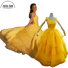 2017 Moive Beauty And The Beast Belle Princess For Adults Cosplay Costume Yellow Beautiful Dress Custom Made Free Shipping