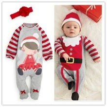 Hot!baby Rompers 2015 Christmas One-piece Costumes Kids Long Sleeve Baby Boys Girls Wear Clothes Set Top+headband Or Hat