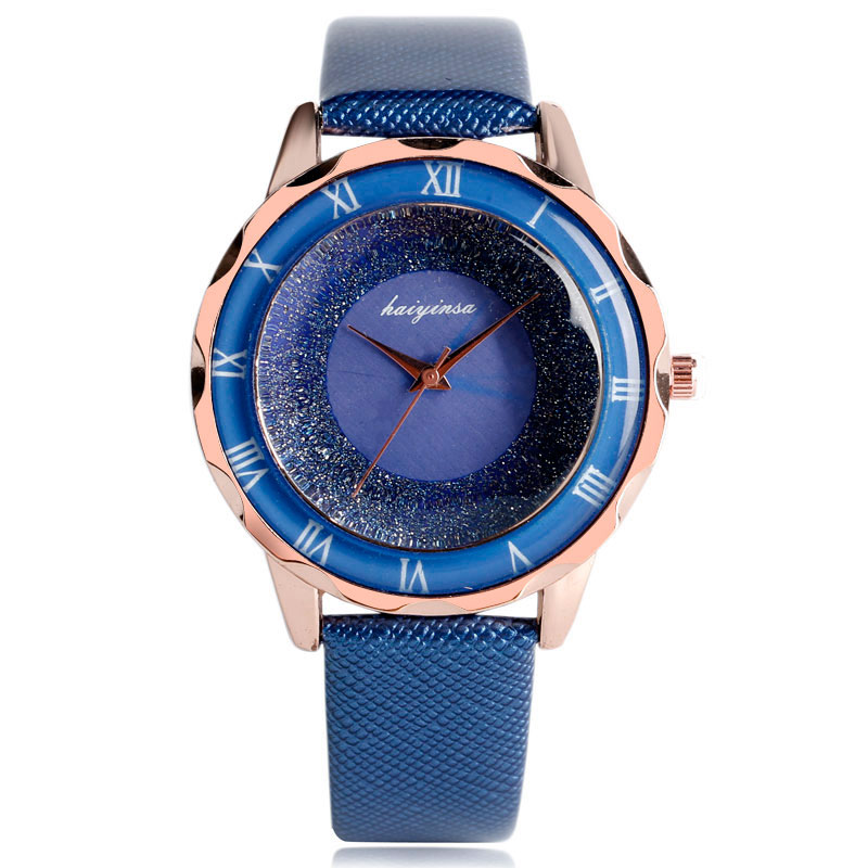 Fashion Blooming Glitter Dial Roman Numbers Wrist Watch Royal Blue Leather Band Women Strap Ladies Simple New Modern Gift<br><br>Aliexpress