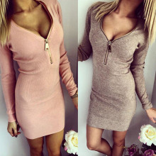 Women Dress Long Sleeve V-neck Dress Sexy Stretch Bodycon Dresses 2017 Fashion Sring Autumn Style One Piece Casual Clothing