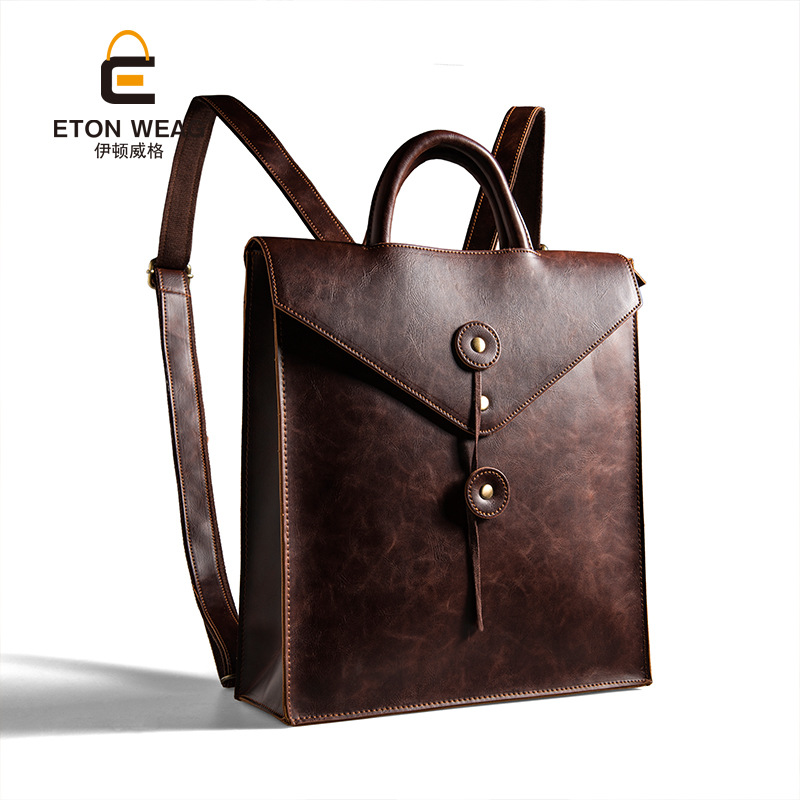 New Fashion High Quality Korean Style men Cover Backpack Trend business casual crazy-horse leather 13 Inch laptop backpack women<br>