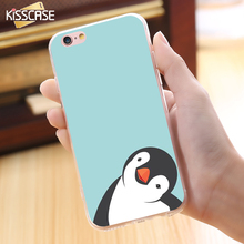 KISSCASE Lovely Art Print Penguin Case For iPhone 6 6s Candy Colorful Soft Silicon Cute Owl Deer Pattern Cover For iPhone6 6(China)