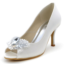 Fashion Women Shoes EP2055 Ivory White Peep Toe Big Diamond  Med Heel Satin Women Wedding Bridal Shoes Prom Party Pumps