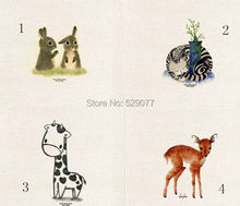 4 pieces 20 * 20 cm animal fabric painting digital printed diy cloth hand-dyed linen cotton fabric 4 designs