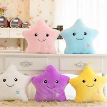 1pcst 35*40cm Kawaii Star Pillow Color Change Luminous Pillow with LED Light Soft Stuffed Doll Toys for Children(China)