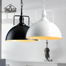 Industrial Black/White Pendant Lights Wrought Iron Kitchen Island Office Lighting Fixtures Vintage Country Pendant Ceiling Lamp