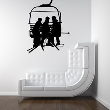 Ski Lift Chair With Men Handing Snowboards Silhouette Art Design Wall Decals Home Livingroom Cool Decor Wallpaper Poster Wm-033