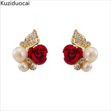 2017 New Hot ! Fashion Fine Excellent Jewelry Red Rose Butterfly Pearl Gold Color Brincos Stud Earrings Women Ladies Gift E-745