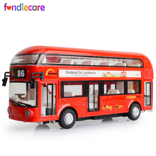 Fondlecare Kids Car model Toys London Double-decker Bus Alloy Bus Model Pull Back With Sound Light Gift for Children(China)