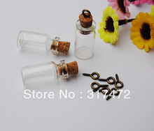 Free Shipping Glass Test Tube Bottle Cork Vial Pendant with Antique Bronze Eye pin DIY wishing charm pendant 101805(China)