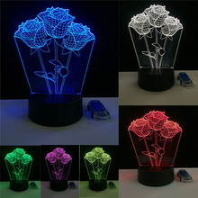 Romantic Rose Flower Proposal 3D Led Night Light  7 Color Change Novelty Table Lamp Home Decor Bedside Lampara Lover Sweety Gift
