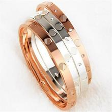 Luxury Brand Jewelry Silver/ Gold Plate with Unique Shaped Inlay Rhinestone Charm Bracelet Bangles for Women Party(China)